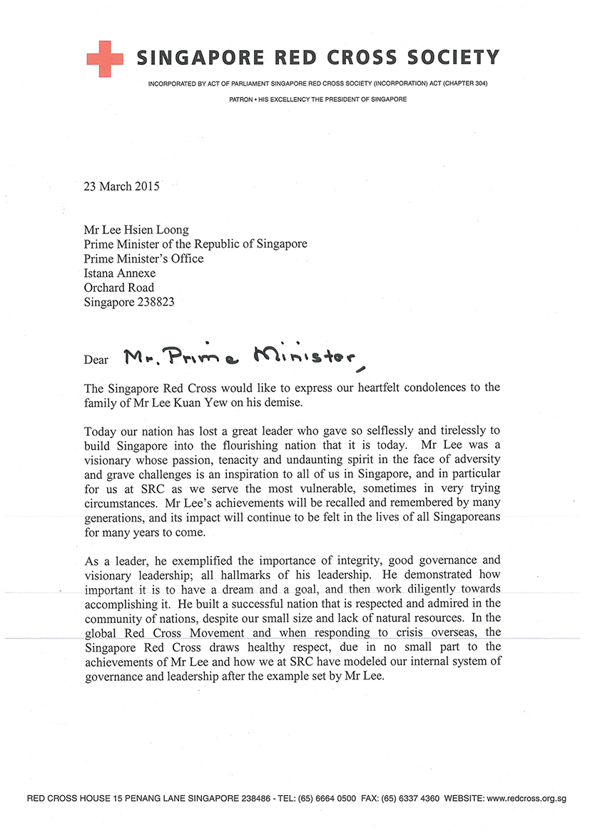 Condolence letter from the singapore red cross altavistaventures Images